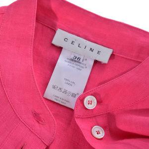 Womens Celine Pink Linen Shirt Blouse Top M 36